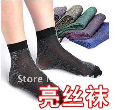 Wholesale free shipping fashion silver shiny silk women health sock  stocking thin  sexy  restore ancient ways transparent
