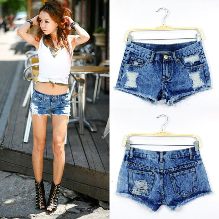 Wholesale  FREE SHIPPING new arrvial 2012fashion  blue snow hole hot jeans denim women shorts10pcs/lot