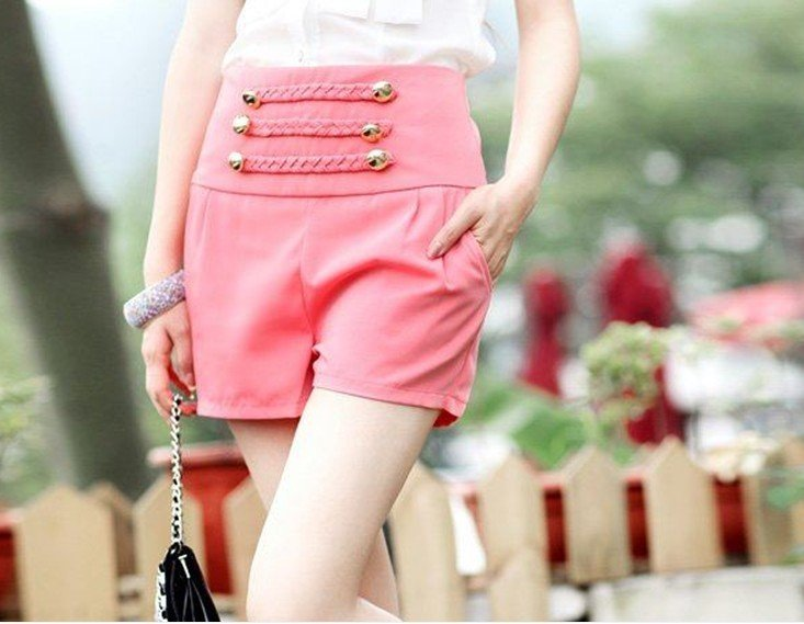 Wholesale Free shipping New women three color short high waist short button up shorts Promotion D95-524-35-237