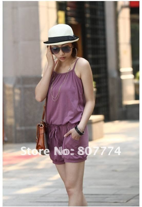 Wholesale FREE SHIPPING women Cotton jumpsuit pants sexy overall casual romper (Purple/Black/Grey) mix order