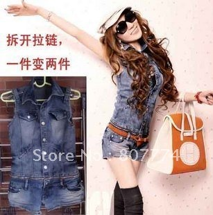 Wholesale FREE SHIPPING Women Denim Jumpsuit Shorts Vest+Short Detachable Overall Casual Romper Mix Order