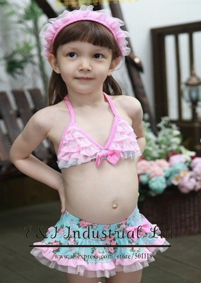 Wholesale - Girls Pink Lace Hood Swimsuit Hat + Kids Swim Suit Baby Girl Swimming Sets Bathing Costumes