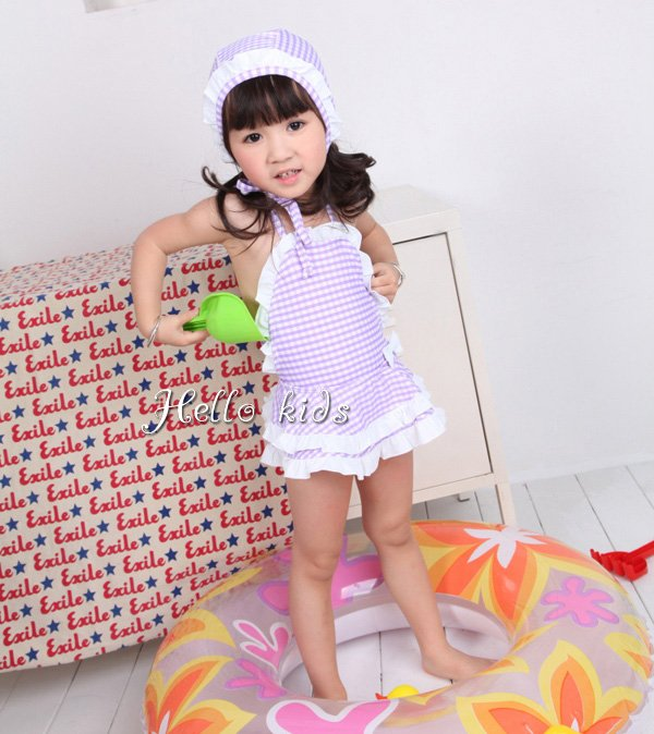 Wholesale - Hot! 2012 Baby Girl Pink Grid Swimwear Two-Piece Suit Lace Hat+Swim Skirt 3-7Y 5 pcs/lot Mix Designs