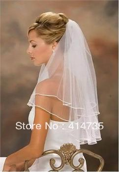 Wholesale New 2t white or Ivory Wedding Bridal veil elbow Length Satin Edge with comb Bridal Veils BV11