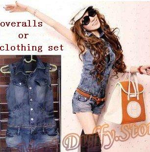 Wholesale New Arrival women denim jumpsuits/romper lady sleeveless vest+shorts clothing set women detached overalls lady jeans