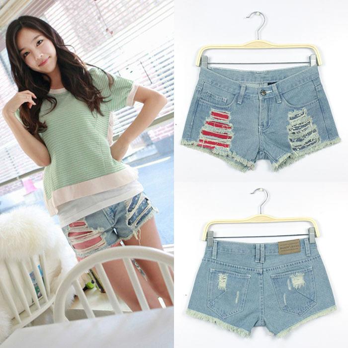Wholesale New Korean Fashion Light Blue Jeans Women Hole Shorts Denim Frayed Shorts FREE SHIPPING Drop Shipping