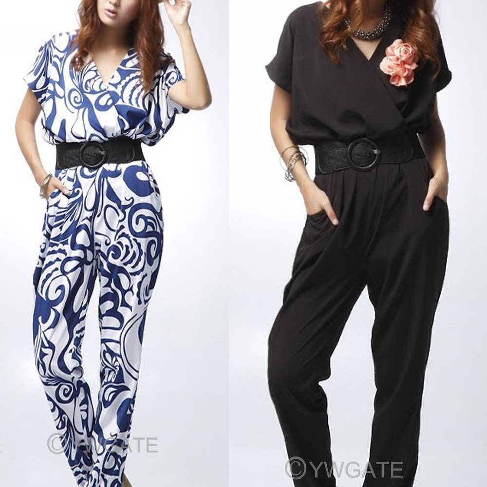 Wholesale price 1pc two colors for choose Fashion Elegant Women Short Sleeve Long Jumpsuits Romper Pants With Belt 70416-70419