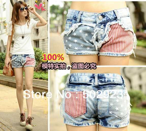 Wholesale Price Fashion Stars Stripes US Flag Classical Summer Denim shorts/hot pants pants Free Shipping