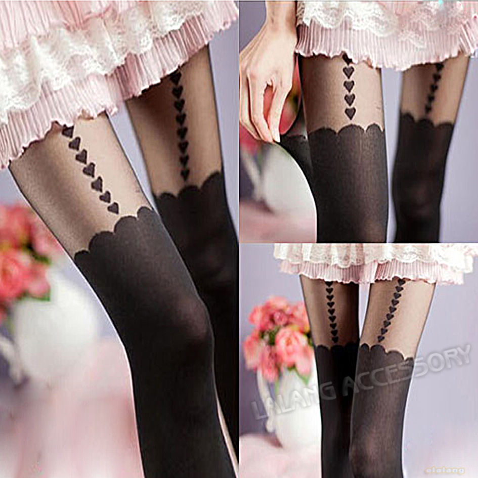 Wholesale Price Women's Sexy Sockings 1 piece/lot Black Suspender Tights Heart Pattern Pantyhose 651106