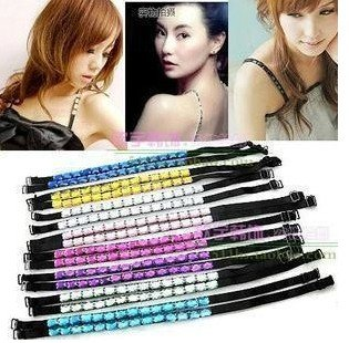 wholesale retail Ladies fashion Sexy Style ADJUSTABLE BRA BELT SHOULDER STRAP multi color available shiny crystal party star
