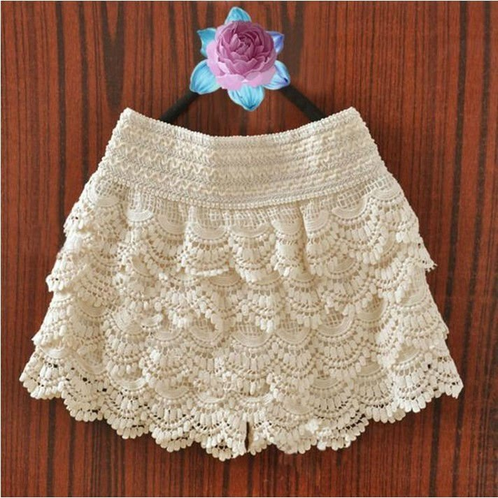 Wholesale Spring New Hot Item skirt short crocheted skirt pants lace short (Apricot/Black) free shipping