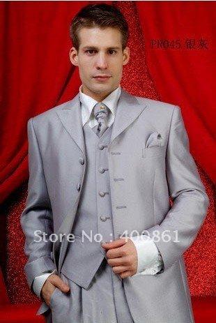 Wholesale Super Silver Grey Men's Suits Groom Wedding Groom Tuxedos AA-088