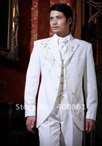 Wholesale Super White With Embroidery Men's Suits Groom Wedding Groom Tuxedos AA-087