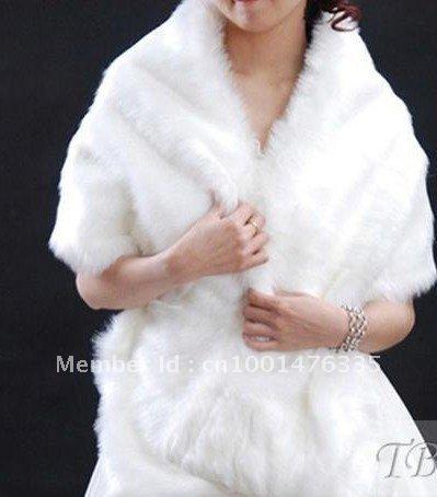 wholesale White Long Faux Fur Wedding Shawl / Jacket  bolero wrap