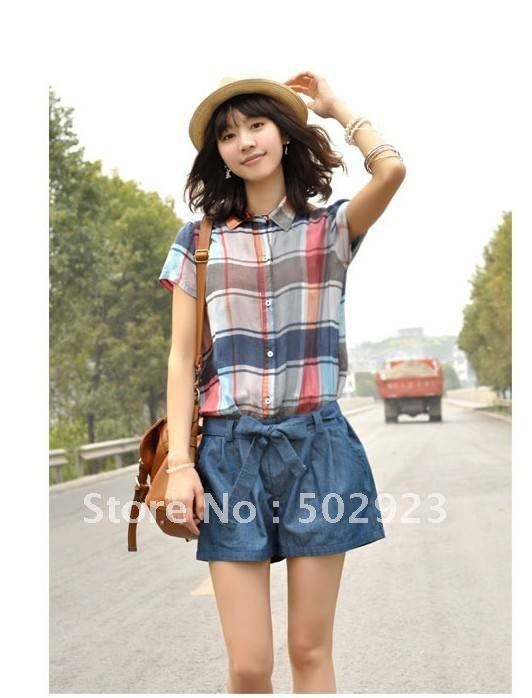 Wholesale women Fresh plaid jumpsuit jumpsuit women shirt fashion shorts 2 colors size S M L,free shipping
