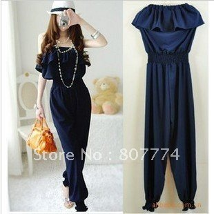 wholesale women frilled top+long pants Empire waist Navyblue  jumper backless sexy overall casual romper  mix order