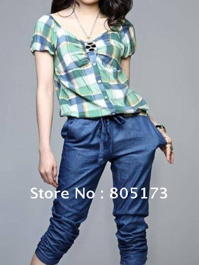 Wholesale women plaid jumper top+crop pant fashion romper gathered legopening Free Shipping /D-96-335