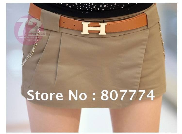 Wholesale Women retro chain casual skirt pants with belt (Black/Khaki) cotton Shorts S/M/L/XL Mix order