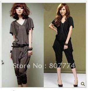 Wholesale women V neck Jumpsuit short sleeve overall casual romper harem Crop pants mix order