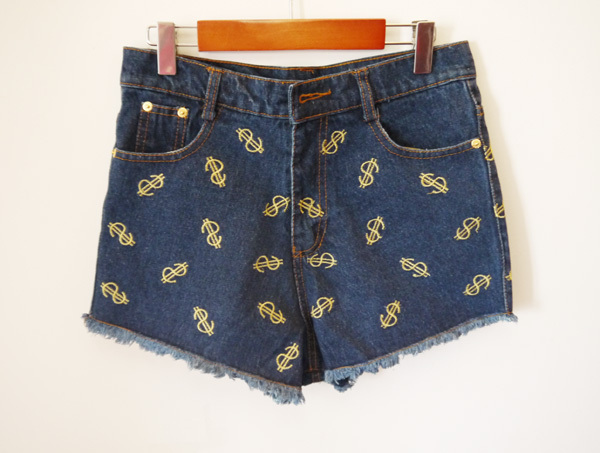 Wholesle 20pcs Fashion $ usd pattern Denim jeans Short restoring High waist Women Jeans Short Pants