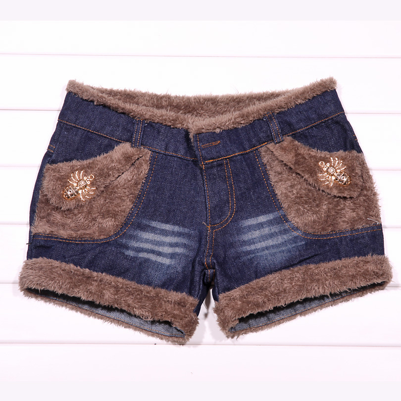 Winter Denim Shorts Comes With Metal Spider And Thickened Berber Fleece 2120719
