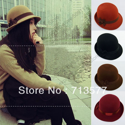 Winter felt hats Orange fedoras Wool felt bowler fedora hats ladies dress hats 4 color MZ521