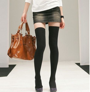 Winter leg shaping comfortable solid color black knee-high socks