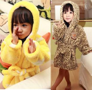 Winter male female child coral fleece robe child robe parent-child bathrobe sleepwear bathrobes baby sleepwear