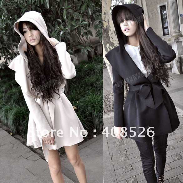 Winter New Stylish Korea Women's Coat Hooded Trench Outerwear Dresses Style Tops free shipping 3487