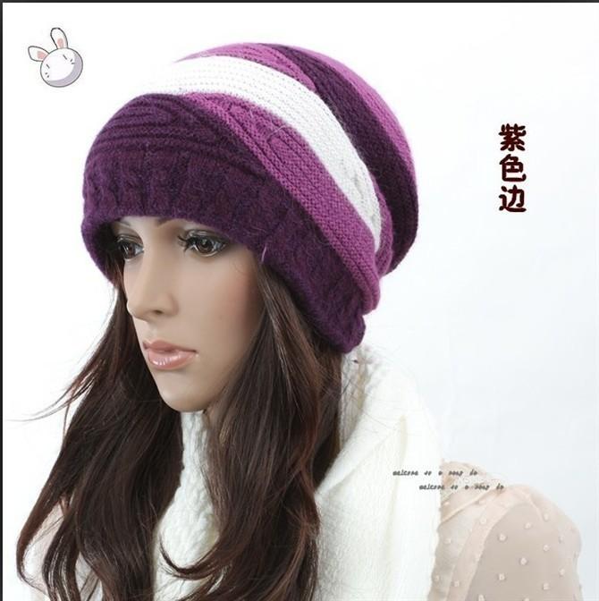 Winter women's three-color rabbit fur hat purple knitted hat autumn and winter knitted hat knitting wool hat