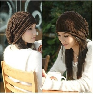 Winter women's trigonometric decorative pattern knitted hat pocket hat loose autumn and winter