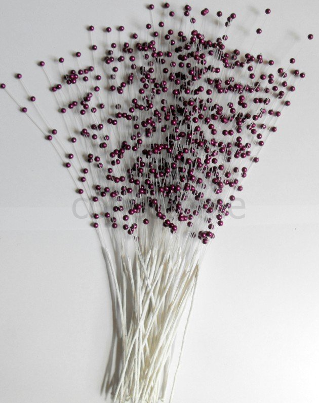 Wired Purple pearl spray 500 stems for flowers weddings fascinators crafts Free Shipping