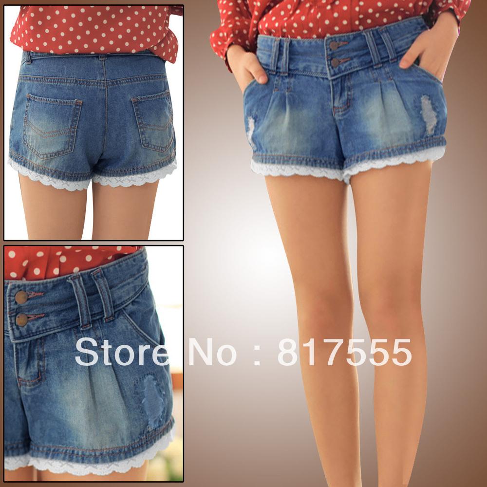 Woman 2013 NEW Fashion Lace Patchwork Scalloped Hem Zip Fly Blue Denim Shorts S