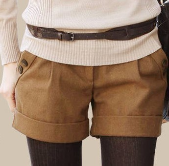 Women 2013 Fall and Winter New Thin Slim Hip Casual Woolen Shorts Boots Pants,D22+Free Shipping