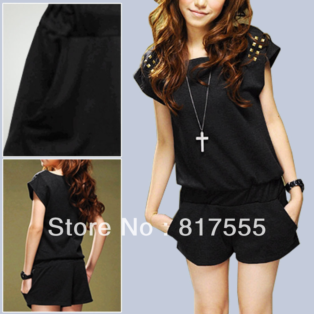 Women 2013 NEW Fashion Zip up Back Scoop Neck Bat Sleeve Black Romper Jumpsuit