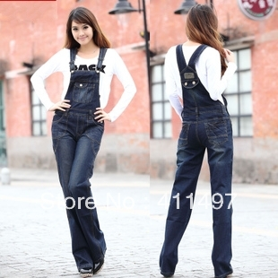 Women  2013 spring denim bib pants | loose plus size flare-hem  vintage fashion long jeans jumpsuit