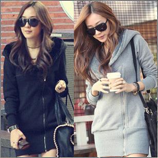 women autumn winter dress coat jacket black fashion clothes warm hoodie 1200 free shipping christmas gift
