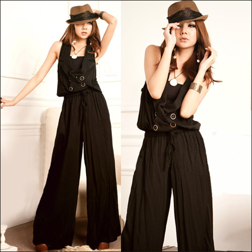 Women black sleeveless button front jumpsuit Free shipping