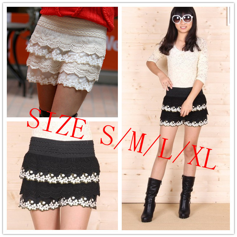Women Crochet Knitted Tiered Lace Embrodery Flower Layered Mini Shorts Shorts Skort Pantskirt S/M/L/XL