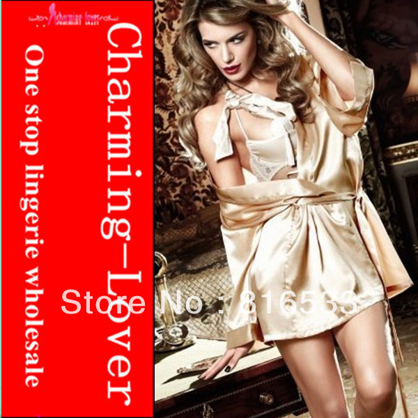 Women fancy silk nighting wear color golden and white sexy robe dress 3 pcs lot wholesale free shipping from charming lover
