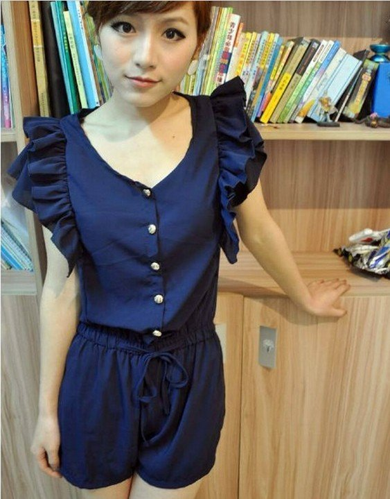 Women Fashion chiffon T shirt  V-neck Jumpsuit  sweet Rompers falbala ruffles Free Shipping 128