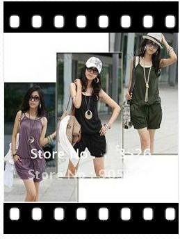Women Fashion Sleeveless Romper Strap Short Jumpsuit Scoop  free shopping 3 Colors