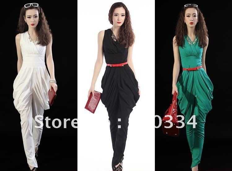 Women fashion V-neck Slim Fit sleeveless Harem Pants Lady elegant Jumpsuit women jump suit pleated Loose Pants
