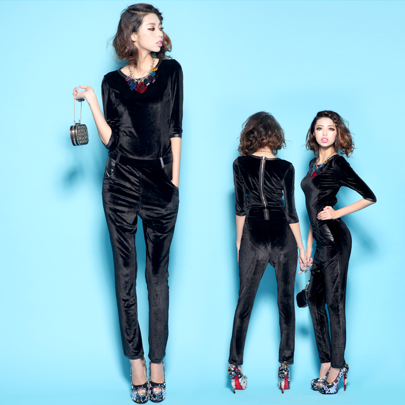 Women Luxury  Velvet  Three Quarter Sleeve Slim Black Jumpsuit Free Shipping