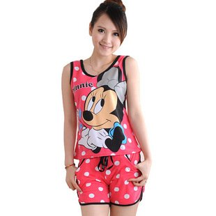 Women Red & Silver Short Pants With Mickey Mouse Design