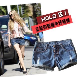 women retro jeans short low finishing regular water wash hole denim shorts