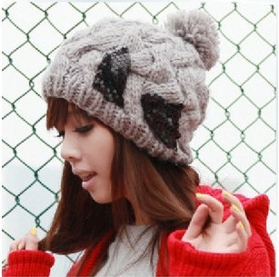Women's autumn and winter paillette bow knitted hat knitting wool hat winter large sphere knitted hat