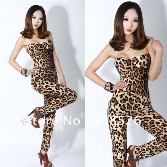 Women's Backless Sexy Leopard Clubwear Party Wrapped Chest Jumpsuit Romper free shipping 6172
