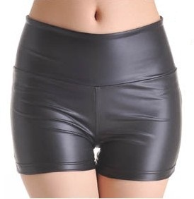 Women's Black Stretchy Faux Leather High Waist Tights Leggings Skinny Pants Hot Shorts Size S M L XL