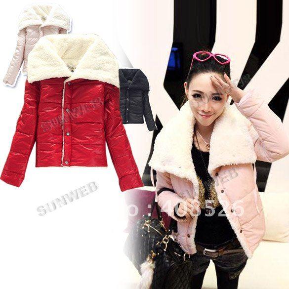 Women's Fashion Big Lapel Winter Warmer Lambs Coat Wool Jacket Outwear Hot 3 Colors free shipping 7747